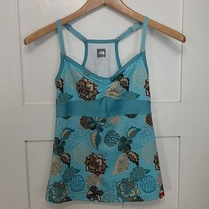 The North Face Blue Floral Tank Top Vapor Wick